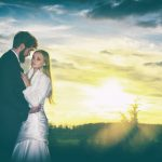 Young bridal couple with beuatiful sunset. with OCF flash.